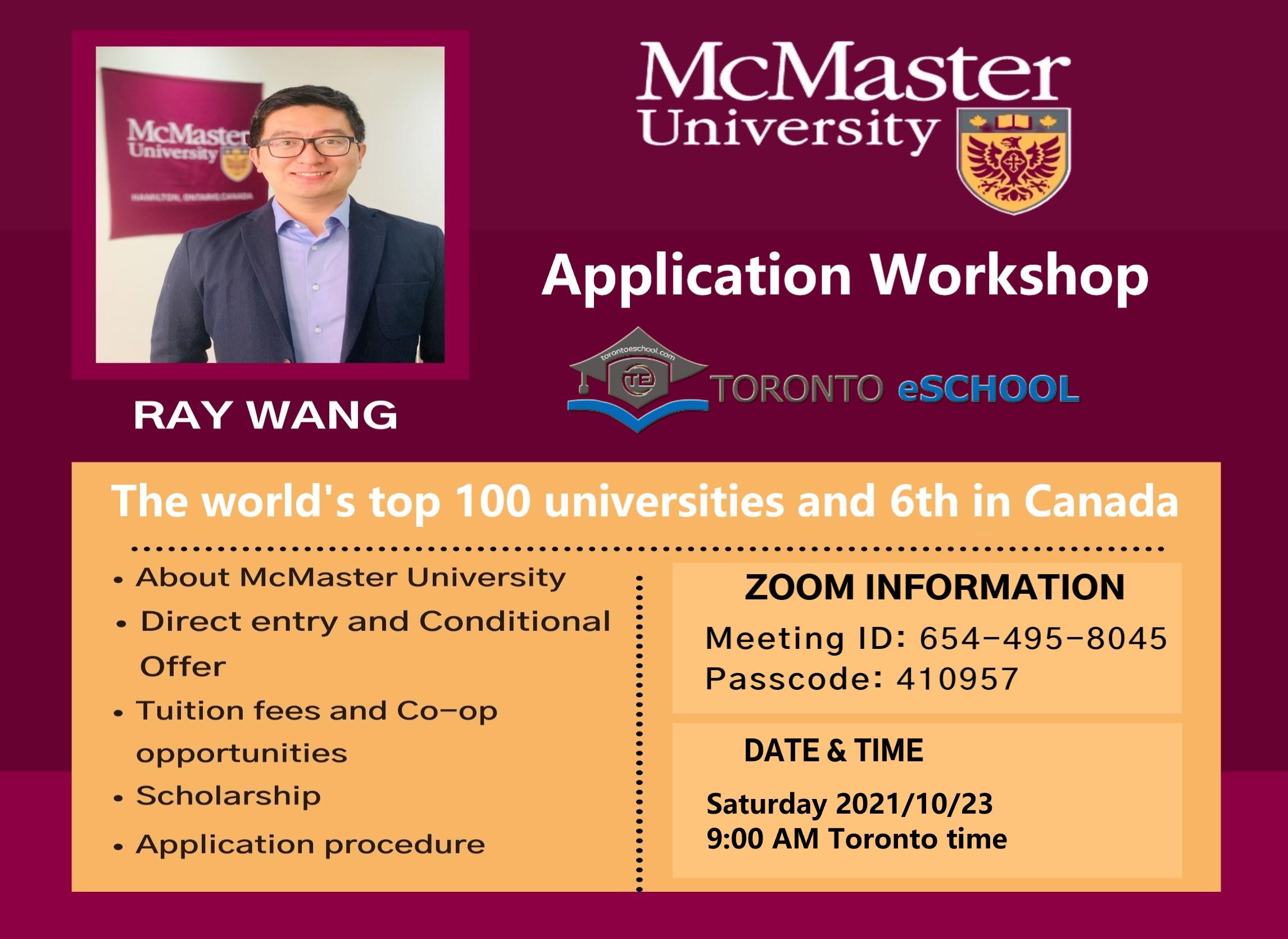 McMaster University Application Workshop