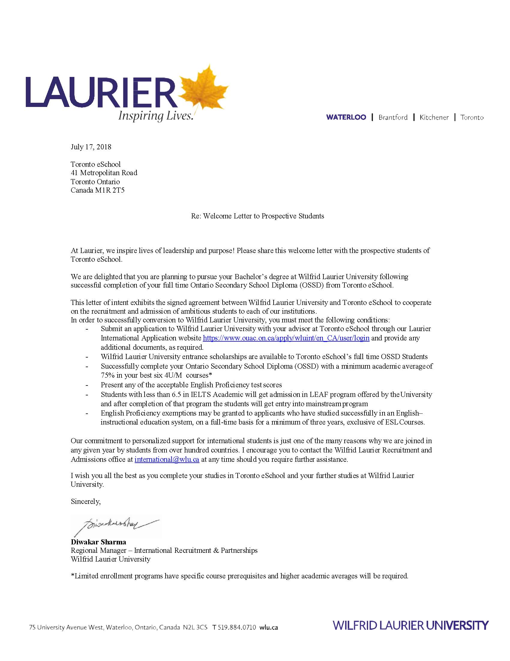 Laurier University Welcome Letter