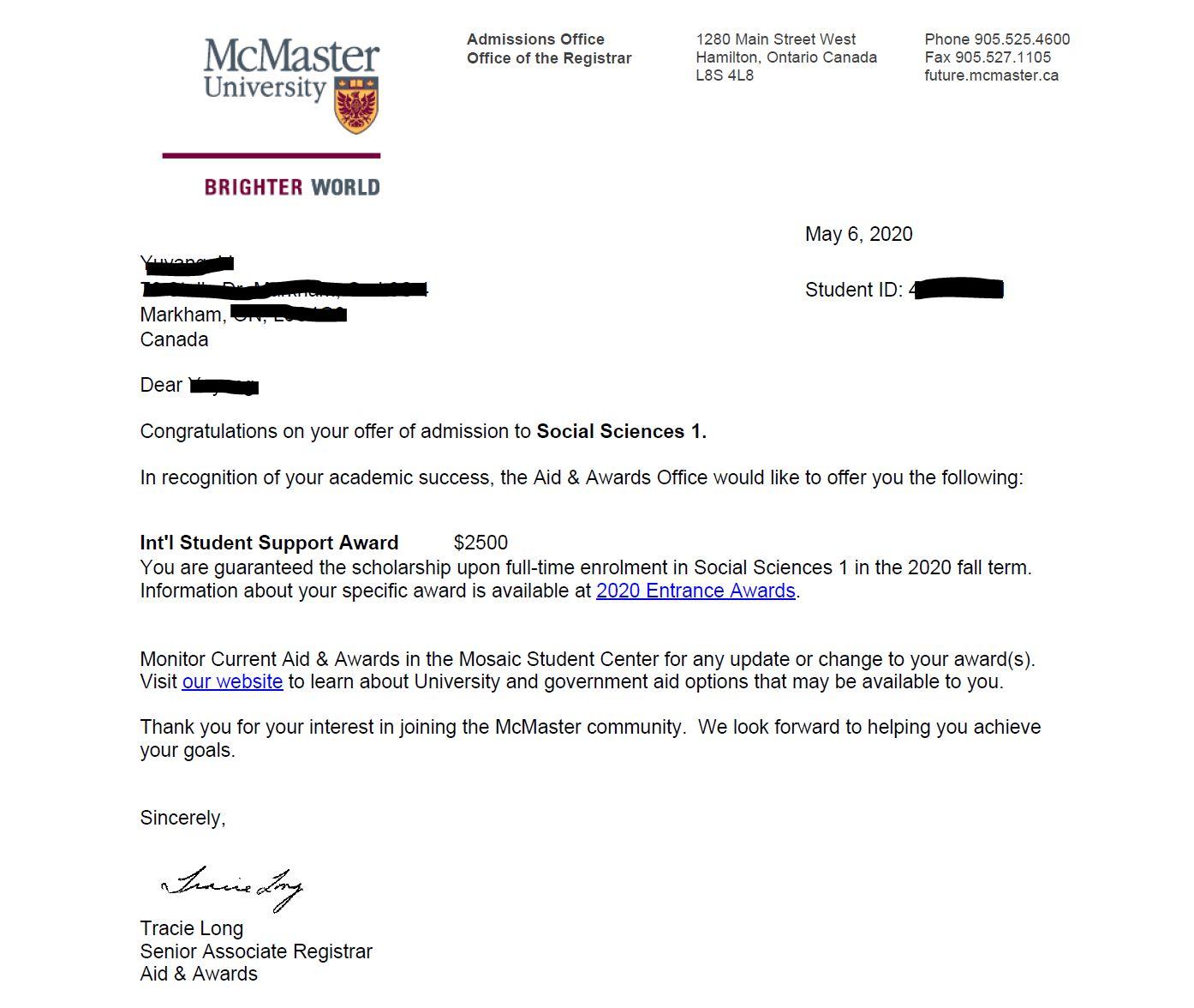 McMaster Offer 2020