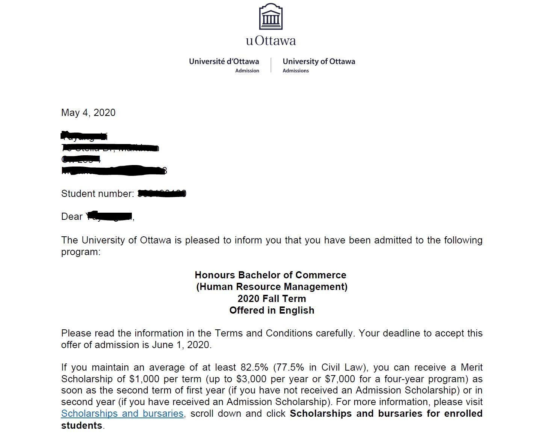 University of Ottawa Offer 2020